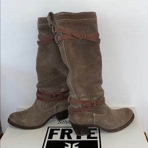 Frye Jane Strappy Suede Boot Fatigue Women's 7M
